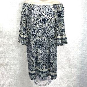 Umber dress off shoulder cotton blend small